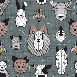 Normal scale // Friendly Geometric Farm Animals // green grey linen texture background black and white brown grey and yellow pigs queen bees lambs cows bulls dogs cats horses chickens and bunnies