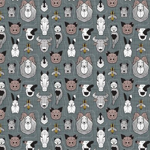 Tiny scale // Friendly Geometric Farm Animals // green grey linen texture background green grey linen texture background black and white brown grey and yellow pigs queen bees lambs cows bulls dogs cats horses chickens and bunnies