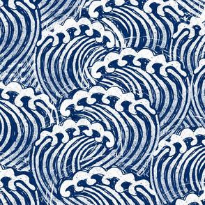 LARGE  block printed waves - wave fabric, japanese fabric, interiors fabric, ocean waves, wallpaper, interiors - dark blue