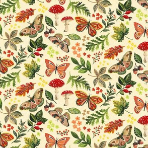 Animalier Forest Butterflies on Cream - Small Scale by Angel Gerardo