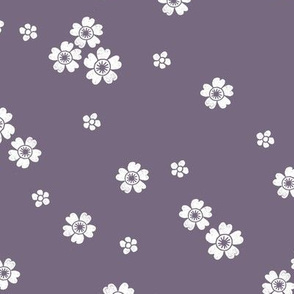 flower stamp fabric - sakura cherry blossom stamp, simple floral fabric, minimal flower fabric - dusty purple