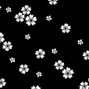 flower stamp fabric - sakura cherry blossom stamp, simple floral fabric, minimal flower fabric - black