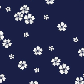 flower stamp fabric - sakura cherry blossom stamp, simple floral fabric, minimal flower fabric - navy