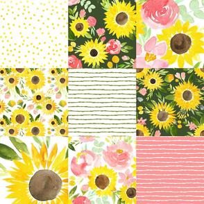 sunflower fields roses cheater quilt