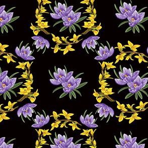 Crocus Forsythia Floral Black
