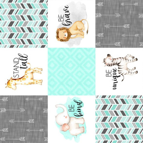 Safari//Zoo//Mint - Wholecloth Cheater Quilt Rotated