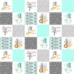 3 inch Safari//Zoo//Mint - Wholecloth Cheater Quilt - Rotated