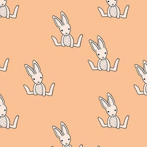 Little bunny love minimalist rabbit baby illustration for nursery soft apricot blush pink girls