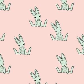 Little bunny love minimalist rabbit baby illustration for nursery soft pink mint