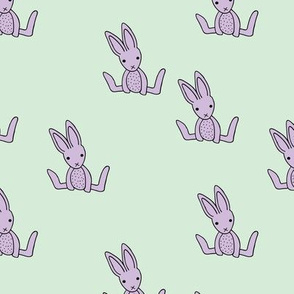 Little bunny love minimalist rabbit baby illustration for nursery mint lilac lavender
