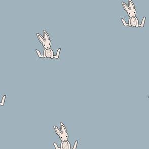 Little bunny love minimalist rabbit baby illustration for nursery delicate stone blue beige boys
