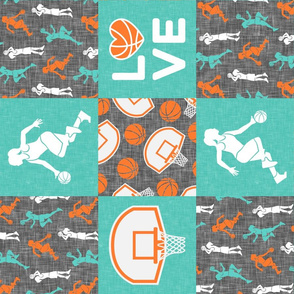 LOVE basketball - Womens/girls basketball patchwork - wholecloth - teal and orange (90) - LAD20