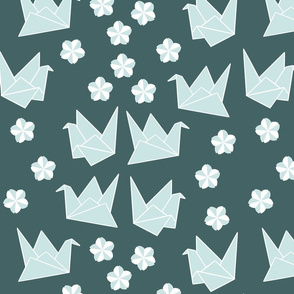 Origami Cranes and Sakura