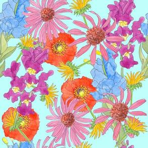 Woodland Wildflowers Blue Background