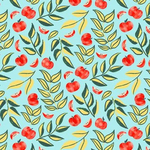 Scattered Apples & Lime Leaves (Small Version, Coordinate)