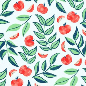 Scattered Apples & Mint leaves (Large Version, Coordinate)