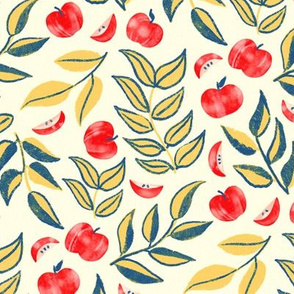 Scattered Apples & Yellow Leaves (Large Version, Coordinate)