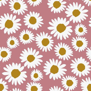 daisy chain fabric - daisy fabric, daisies fabric - baby girl fabric, muted fabric, mauve floral fabric - mauve