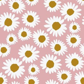 daisy chain fabric - daisy fabric, daisies fabric - baby girl fabric, muted fabric, mauve floral fabric - dusty pink