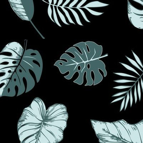 tropical leaves in mint and pine on black