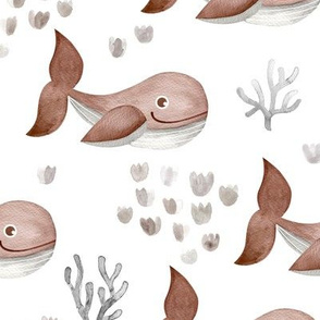 Deep sea watercolor whales and coral fish ocean kids theme nursery neutral rust brown
