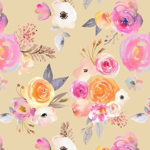 Kiss of Summer Watercolor Floral // Biscuit