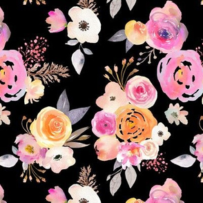 Kiss of Summer Watercolor Floral // Black