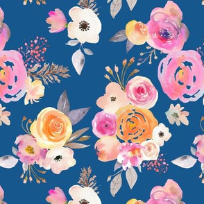 Kiss of Summer Watercolor Floral // Classic Blue