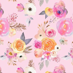 Kiss of Summer Watercolor Floral // Blush