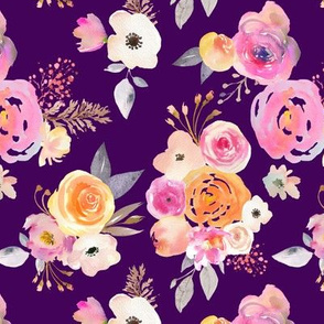 Kiss of Summer Watercolor Floral // Eggplant