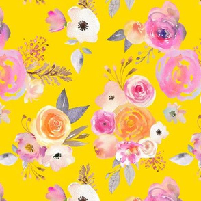 Kiss of Summer Watercolor Floral // Golden Yellow