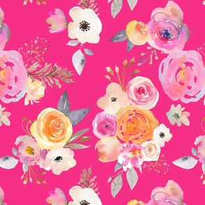 warm pink Kiss of Summer Watercolor Floral // Hot PInk