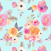 Kiss of Summer Watercolor Floral // Mint