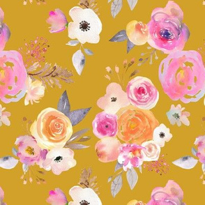 Kiss of Summer Watercolor Floral // Mustard