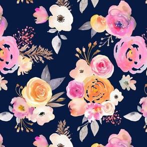 Kiss of Summer Watercolor Floral // Navy