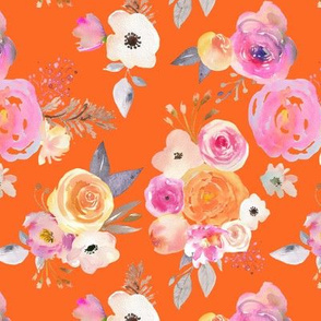 Kiss of Summer Watercolor Floral // Orange
