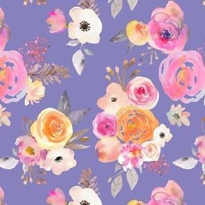 Kiss of Summer Watercolor Floral // Pastel Blue Violet