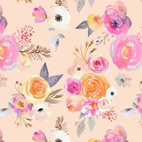 Kiss of Summer Watercolor Floral //Peachy Tan Neutral