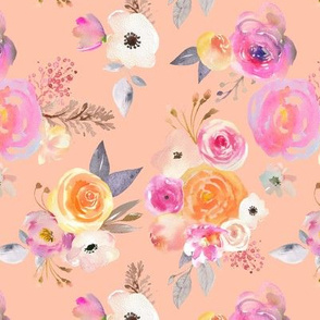 Kiss of Summer Watercolor Floral // Peachy