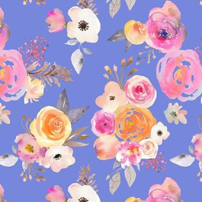 Kiss of Summer Watercolor Floral // Periwinkle