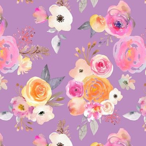 Kiss of Summer Watercolor Floral // Soft Purple