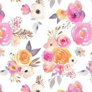 Kiss of Summer Watercolor Floral // White
