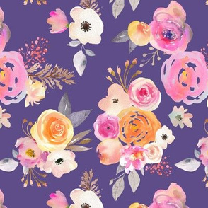 Kiss of Summer Watercolor Floral // Ultraviolet