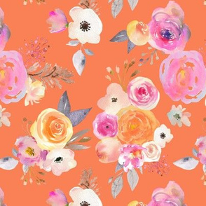 Kiss of Summer Watercolor Floral // Persimmon