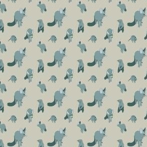 Blue fox and suricate