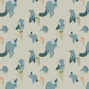Blue fox and suricate, plants