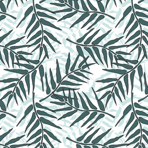 Fern Forest Frond Pine Over Mint on White