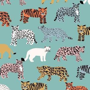 big cats pattern fabric - tiger fabric, cheetah fabric animals fabric multi mint