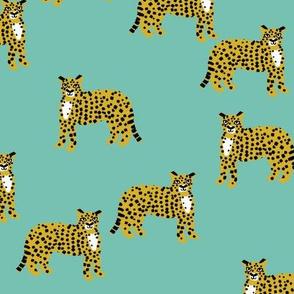 cheetah fabric - cheetah wallpaper, andrea lauren fabric, animals fabric, andrea lauren design - mint