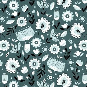 Folk Florals in Pine